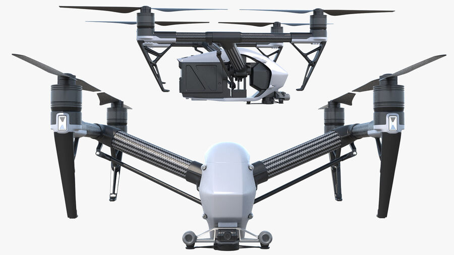 DJI Inspire 2 Quadcopter Drone royalty-free 3d model - Preview no. 6