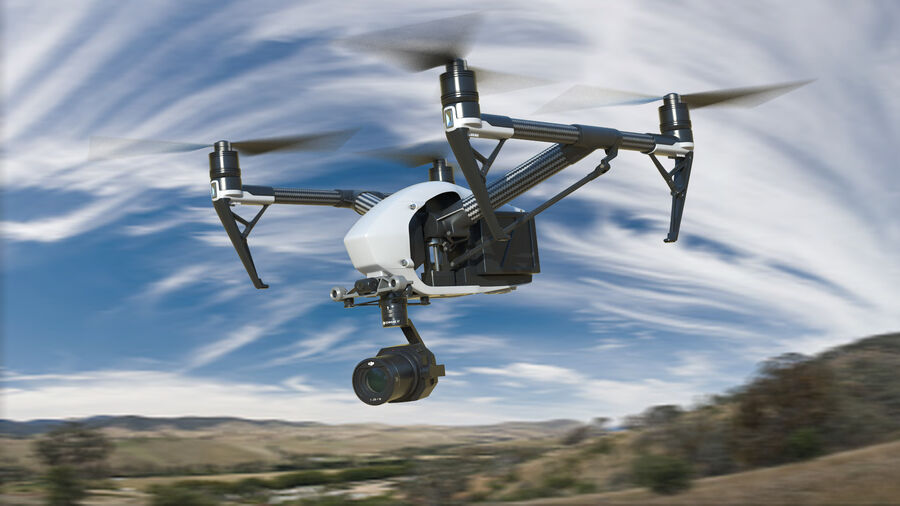 DJI Inspire 2 Quadcopter Drone royalty-free 3d model - Preview no. 3