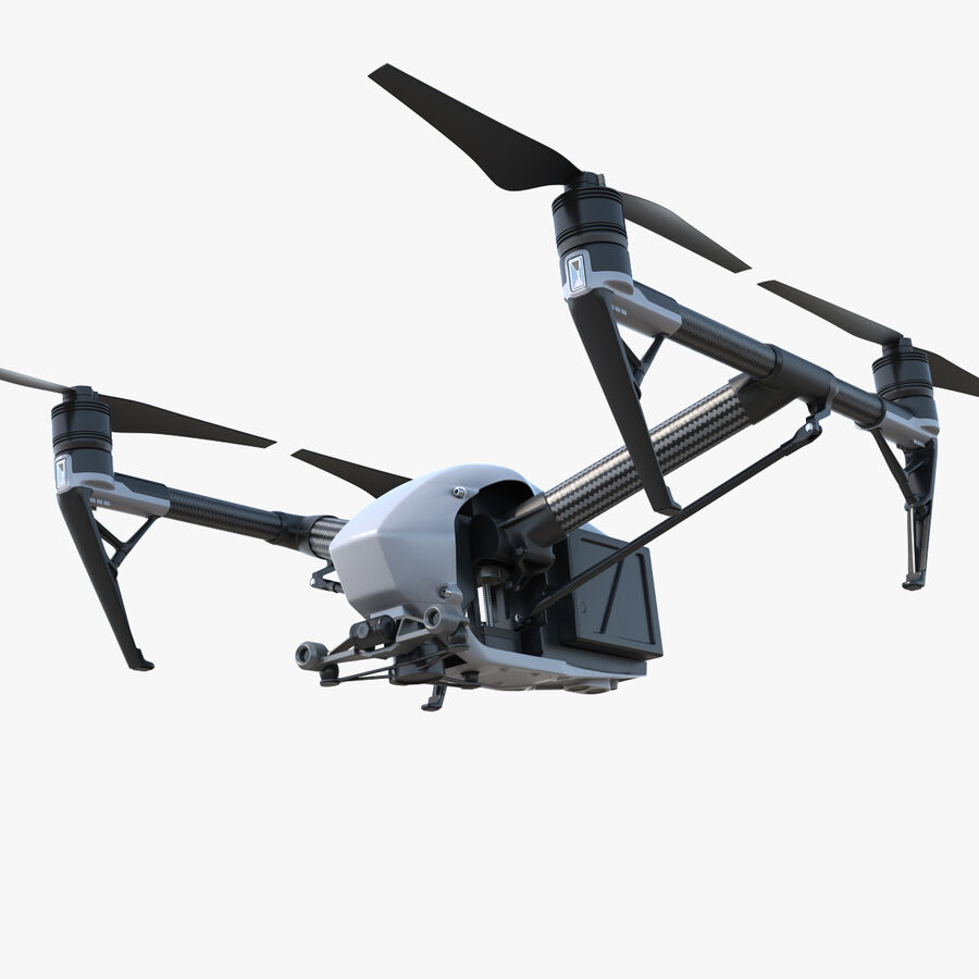 DJI Inspire 2 Quadcopter Drone royalty-free 3d model - Preview no. 1