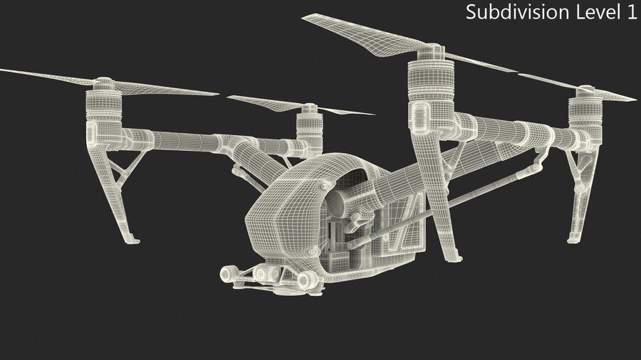 DJI Inspire 2 Quadcopter Drone royalty-free 3d model - Preview no. 12