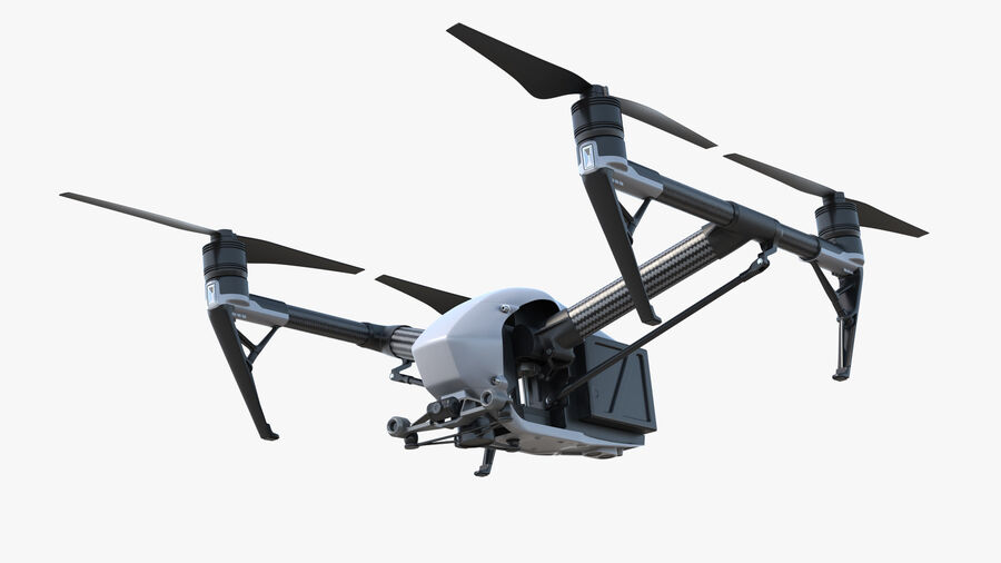 DJI Inspire 2 Quadcopter Drone royalty-free 3d model - Preview no. 2