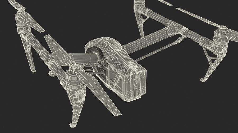DJI Inspire 2 Quadcopter Drone royalty-free 3d model - Preview no. 18