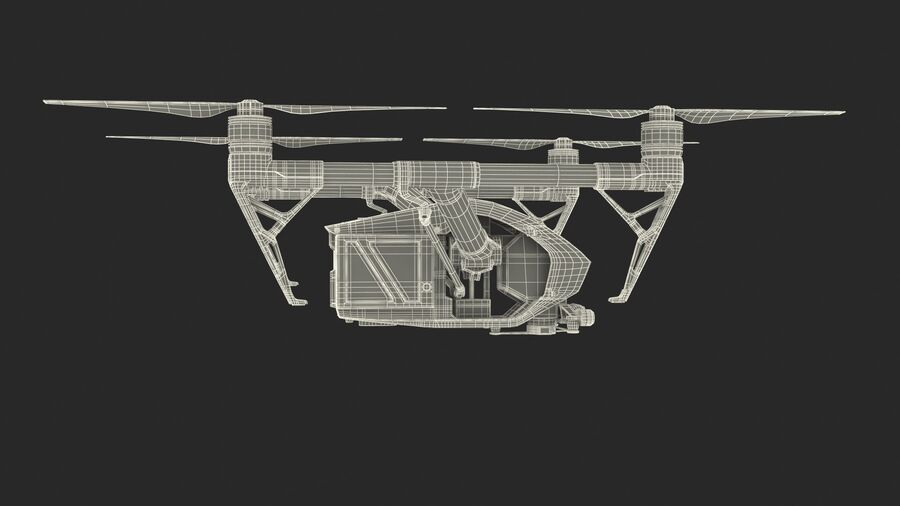DJI Inspire 2 Quadcopter Drone royalty-free 3d model - Preview no. 16