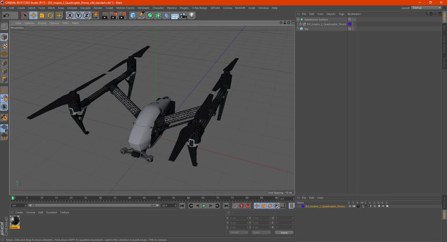 DJI Inspire 2 Quadcopter Drone royalty-free 3d model - Preview no. 20