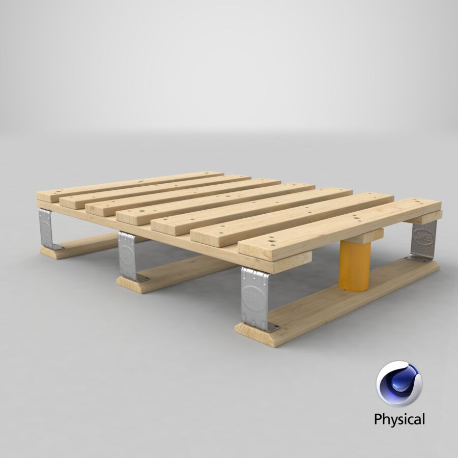 Wooden EPAL Euro 7 Half Pallet royalty-free 3d model - Preview no. 16