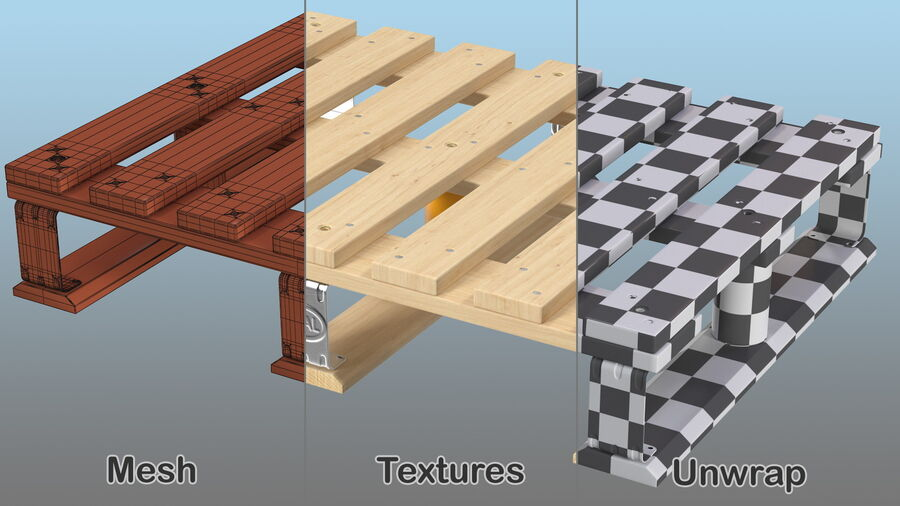 Wooden EPAL Euro 7 Half Pallet royalty-free 3d model - Preview no. 12