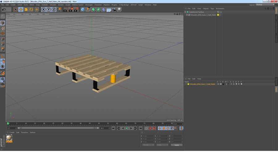 Wooden EPAL Euro 7 Half Pallet royalty-free 3d model - Preview no. 15