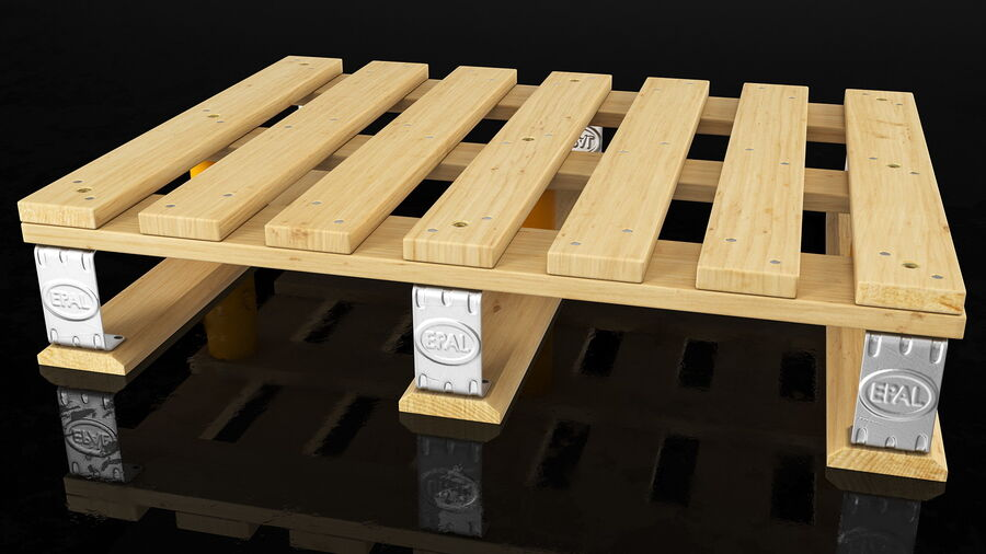 Wooden EPAL Euro 7 Half Pallet royalty-free 3d model - Preview no. 3