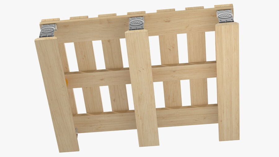Wooden EPAL Euro 7 Half Pallet royalty-free 3d model - Preview no. 11