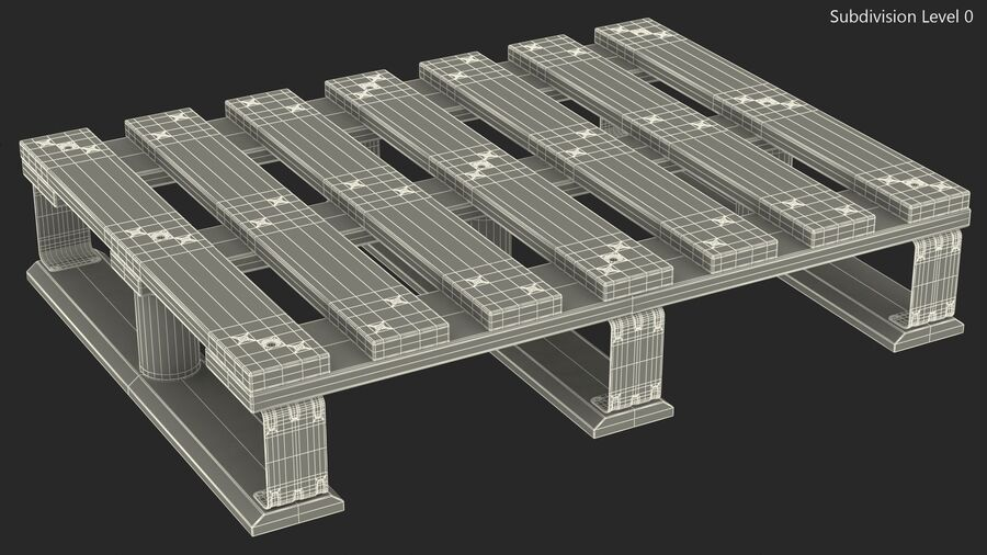Wooden EPAL Euro 7 Half Pallet royalty-free 3d model - Preview no. 17