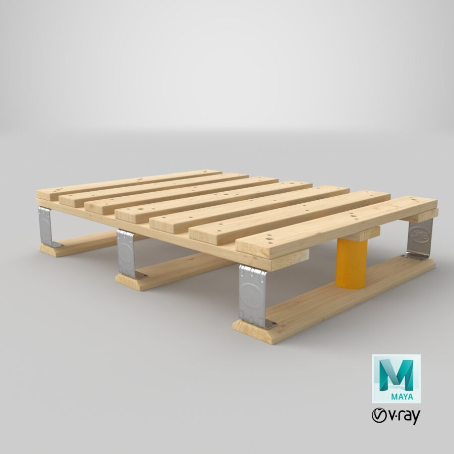Wooden EPAL Euro 7 Half Pallet royalty-free 3d model - Preview no. 34