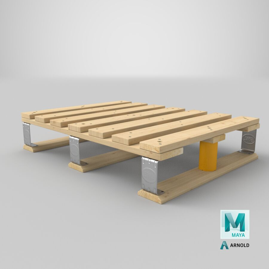 Wooden EPAL Euro 7 Half Pallet royalty-free 3d model - Preview no. 23