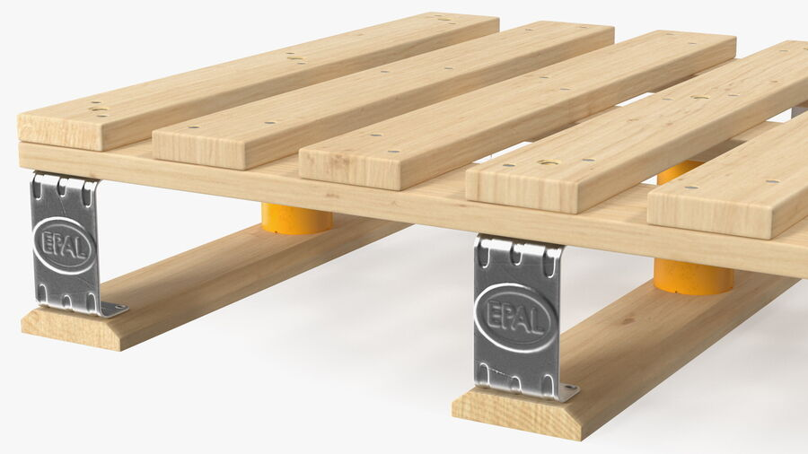 Wooden EPAL Euro 7 Half Pallet royalty-free 3d model - Preview no. 8
