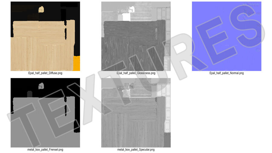 Wooden EPAL Euro 7 Half Pallet royalty-free 3d model - Preview no. 20