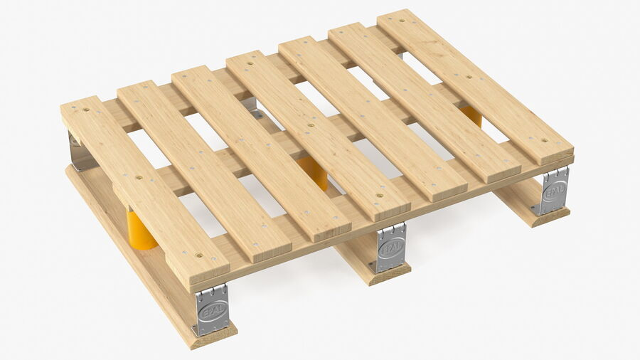 Wooden EPAL Euro 7 Half Pallet royalty-free 3d model - Preview no. 2
