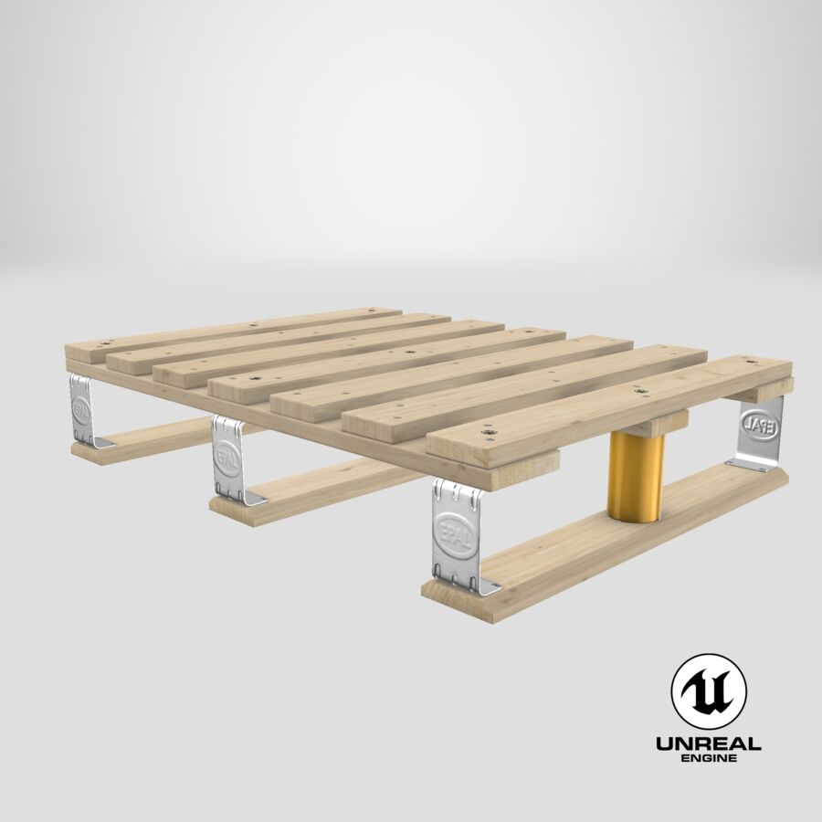 Wooden EPAL Euro 7 Half Pallet royalty-free 3d model - Preview no. 19