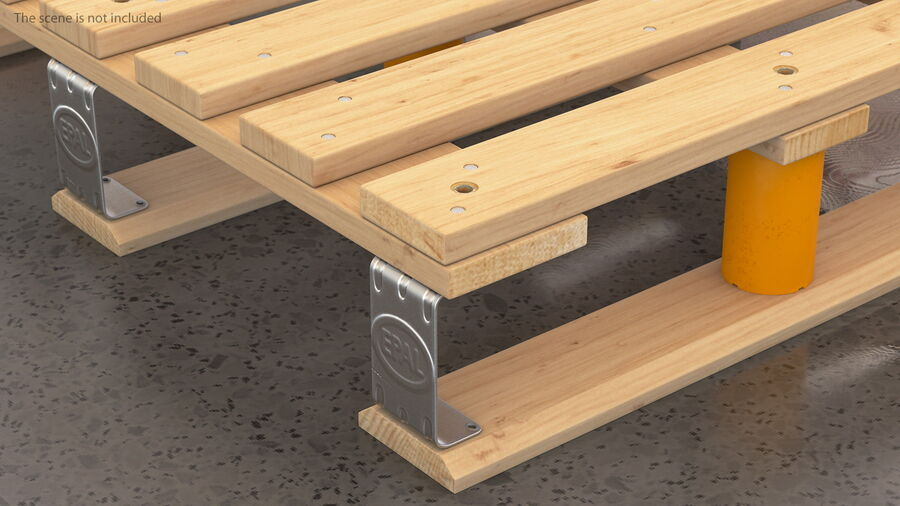 Wooden EPAL Euro 7 Half Pallet royalty-free 3d model - Preview no. 6