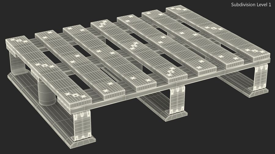 Wooden EPAL Euro 7 Half Pallet royalty-free 3d model - Preview no. 18