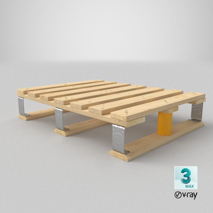Wooden EPAL Euro 7 Half Pallet royalty-free 3d model - Preview no. 22