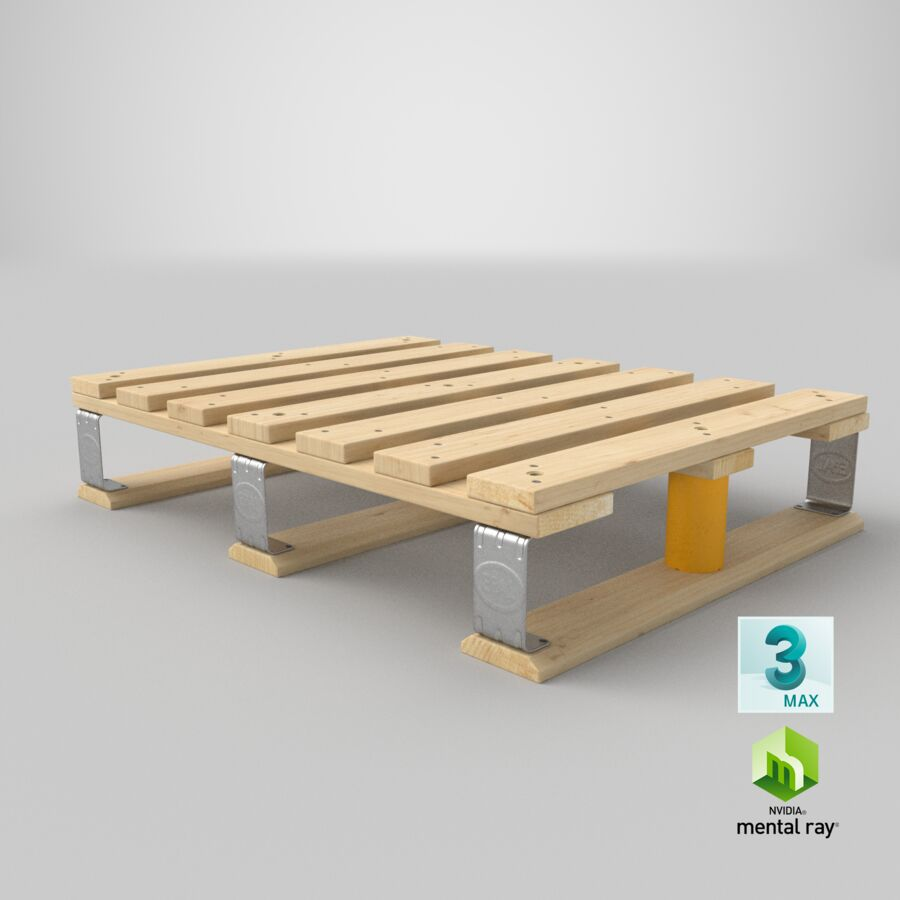 Wooden EPAL Euro 7 Half Pallet royalty-free 3d model - Preview no. 21