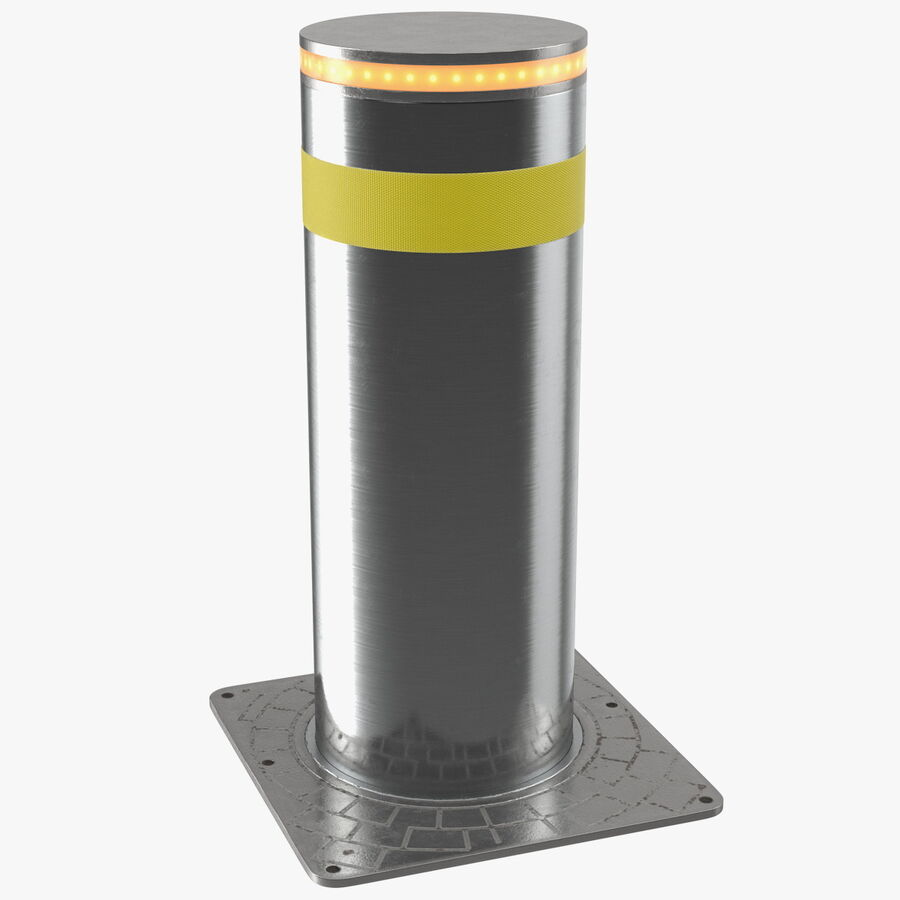 Retractable Security Bollard royalty-free 3d model - Preview no. 1