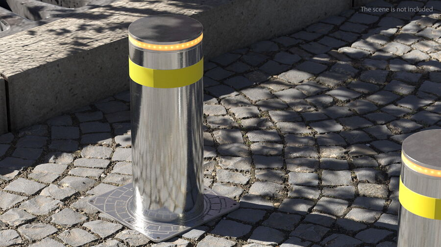 Retractable Security Bollard royalty-free 3d model - Preview no. 5