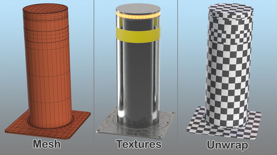 Retractable Security Bollard royalty-free 3d model - Preview no. 15