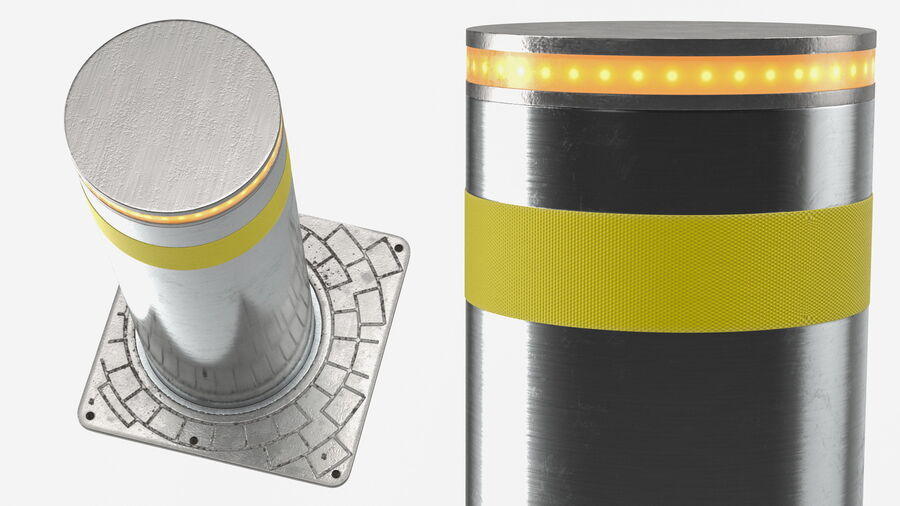 Retractable Security Bollard royalty-free 3d model - Preview no. 7