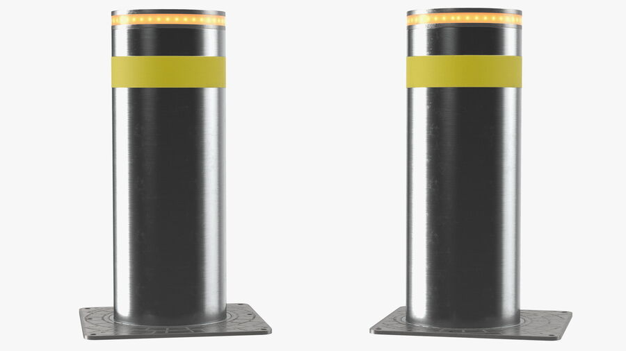 Retractable Security Bollard royalty-free 3d model - Preview no. 6