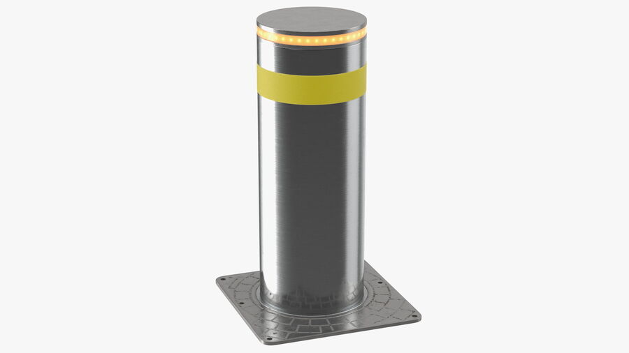 Retractable Security Bollard royalty-free 3d model - Preview no. 2