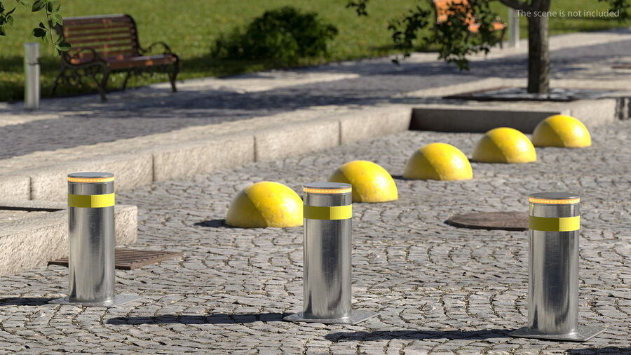 Retractable Security Bollard royalty-free 3d model - Preview no. 4