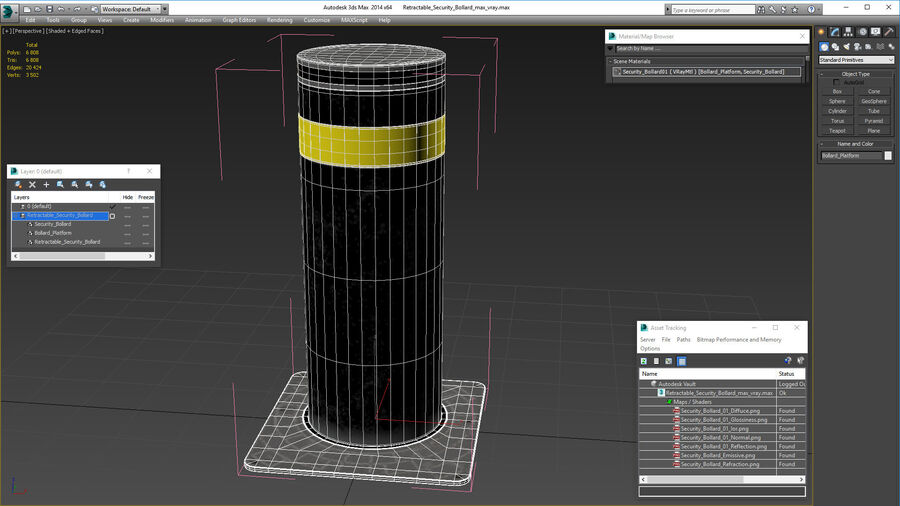 Retractable Security Bollard royalty-free 3d model - Preview no. 18