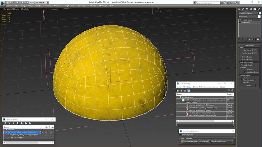 Car Blocker Yellow Concrete Hemisphere royalty-free 3d model - Preview no. 15
