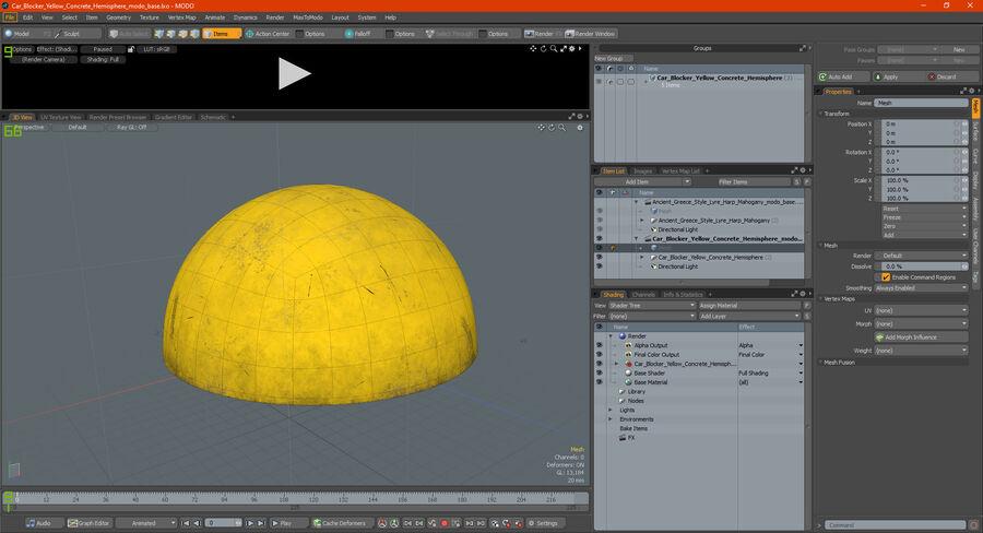 Car Blocker Yellow Concrete Hemisphere royalty-free 3d model - Preview no. 19