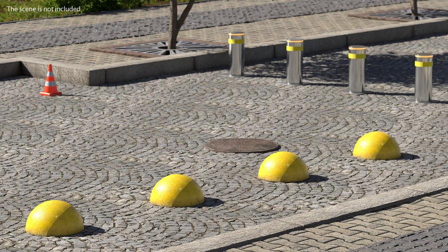 Car Blocker Yellow Concrete Hemisphere royalty-free 3d model - Preview no. 3