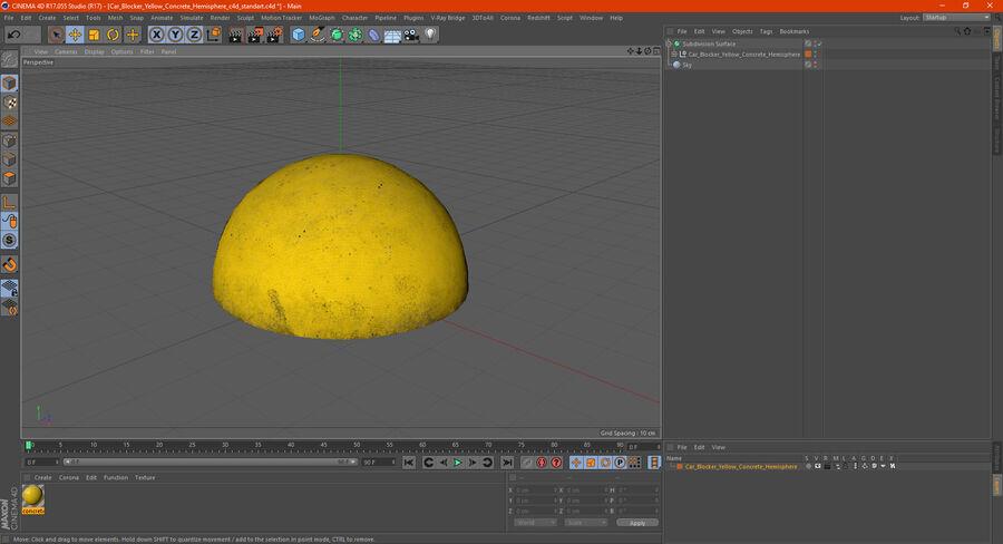 Car Blocker Yellow Concrete Hemisphere royalty-free 3d model - Preview no. 16