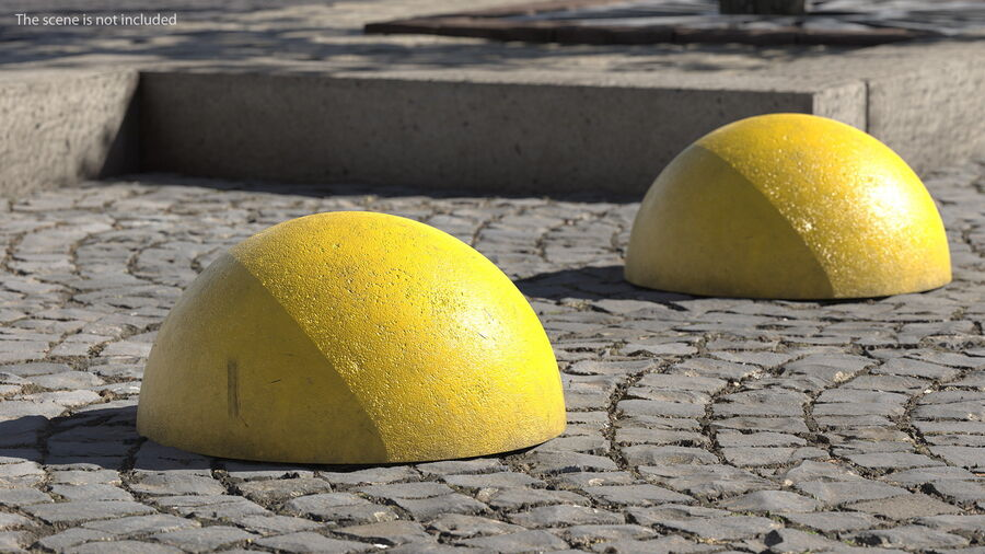 Car Blocker Yellow Concrete Hemisphere royalty-free 3d model - Preview no. 4