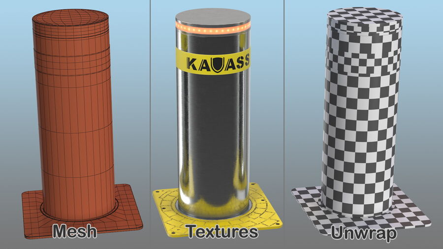 Kavass Automatic Retractable Bollard royalty-free 3d model - Preview no. 15