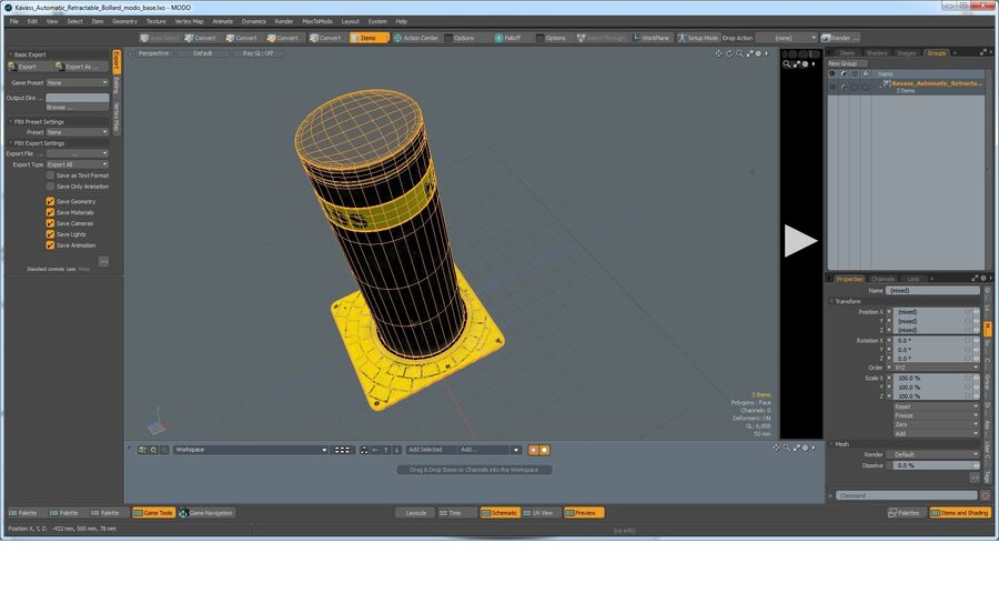 Kavass Automatic Retractable Bollard royalty-free 3d model - Preview no. 9