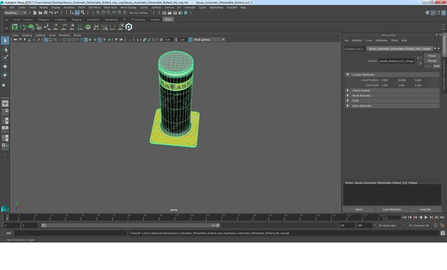 Kavass Automatic Retractable Bollard royalty-free 3d model - Preview no. 10