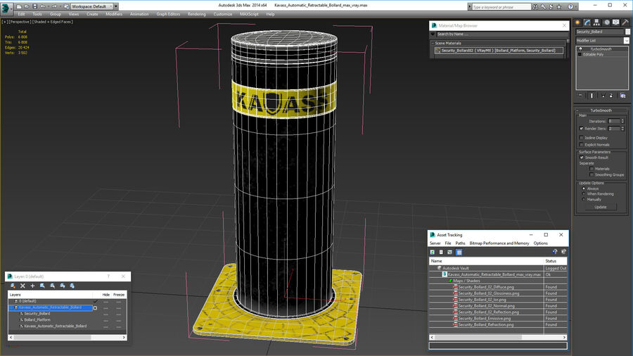 Kavass Automatic Retractable Bollard royalty-free 3d model - Preview no. 18