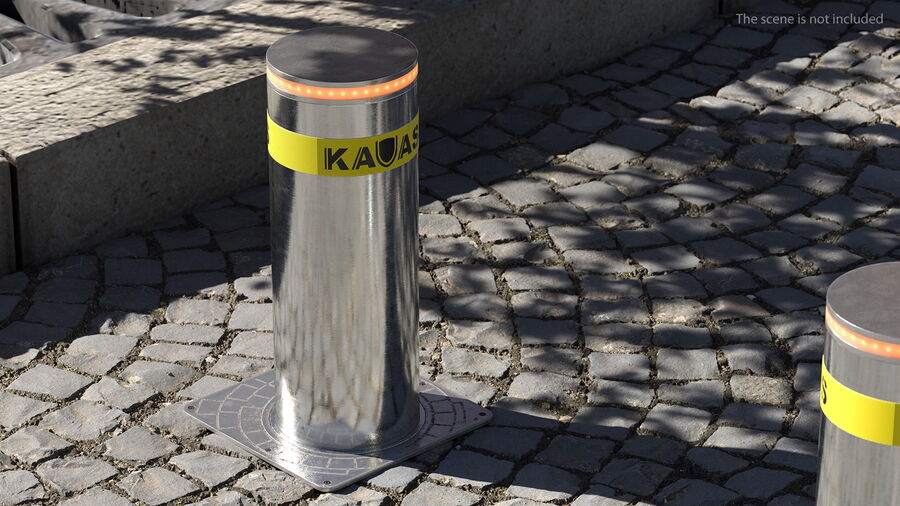 Kavass Retractable Security Bollard royalty-free 3d model - Preview no. 4