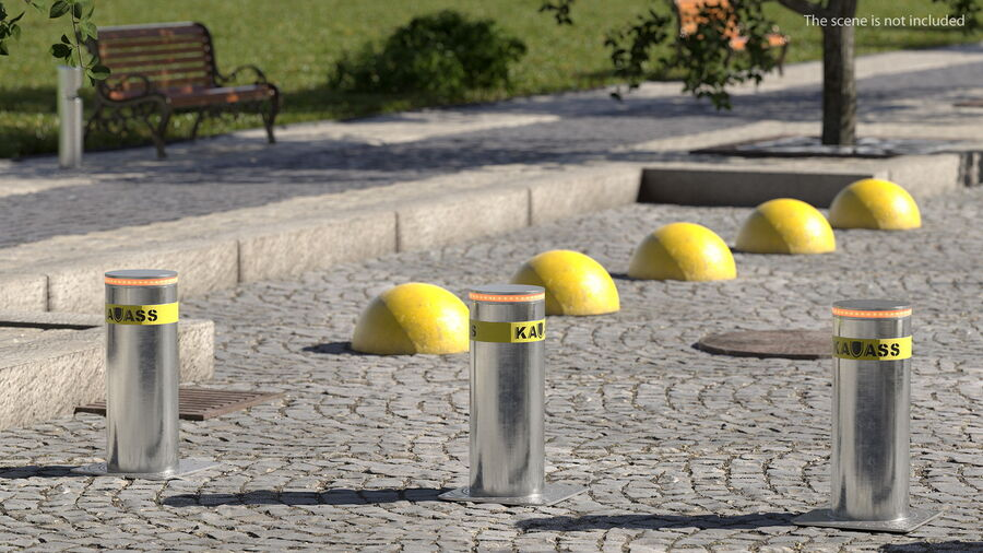 Kavass Retractable Security Bollard royalty-free 3d model - Preview no. 3