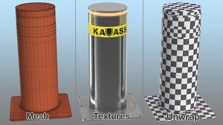 Kavass Retractable Security Bollard royalty-free 3d model - Preview no. 15
