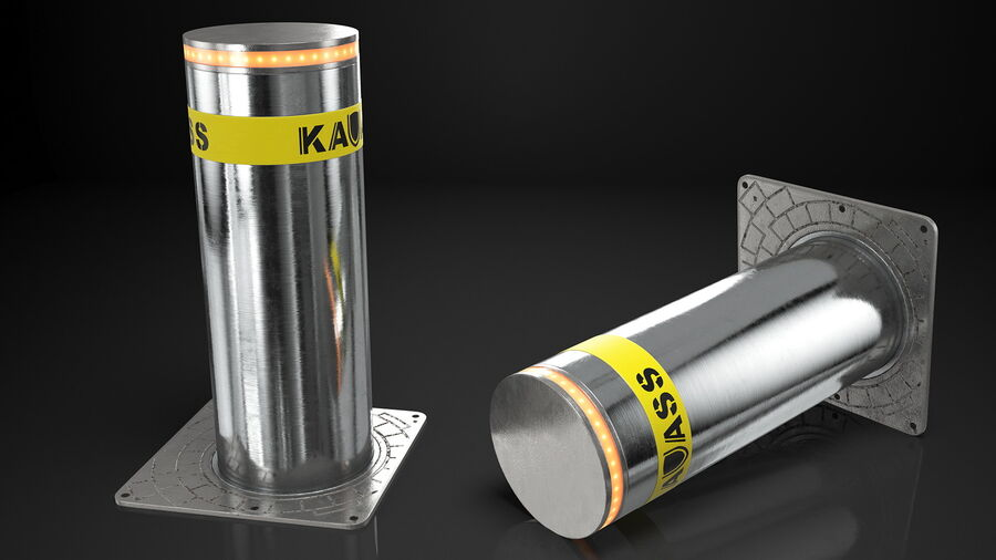 Kavass Retractable Security Bollard royalty-free 3d model - Preview no. 5