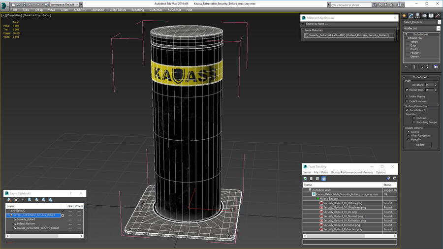 Kavass Retractable Security Bollard royalty-free 3d model - Preview no. 18