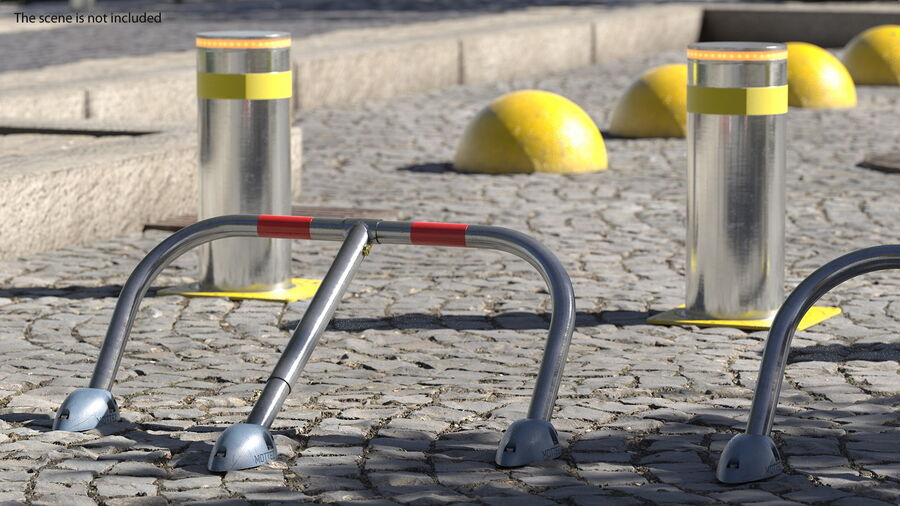 Mottez Folding Parking Barrier Rigged royalty-free 3d model - Preview no. 3