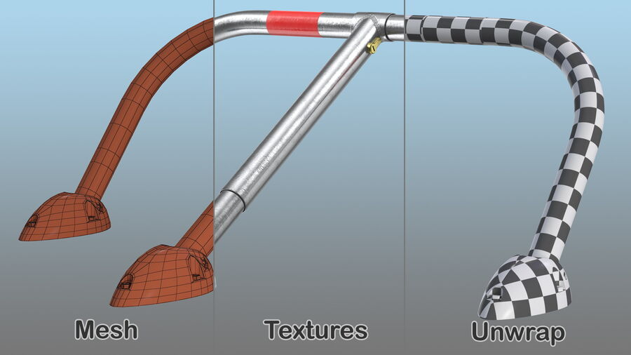 Mottez Folding Parking Barrier Rigged royalty-free 3d model - Preview no. 16