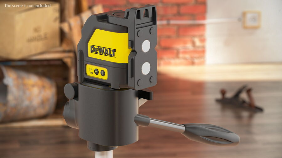 Livella laser a linee incrociate Dewalt DW088K royalty-free 3d model - Preview no. 4