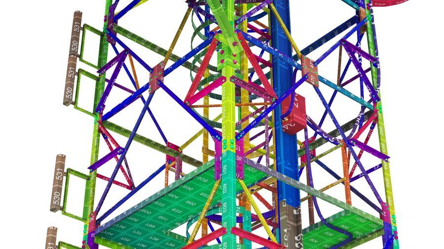 Radio Mast - Torre de Comunicação Antena royalty-free 3d model - Preview no. 29